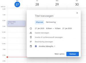 BEEGO Tip Google Agenda inplannen