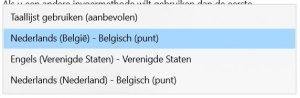 BEEGO taalinstellingen toetsenbord
