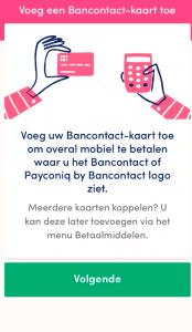 BEEGO Payconiq bankkaart toevoegen