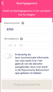 BEEGO Payconiq bankkaart instellen